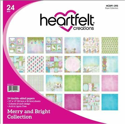 "Heartfelt Creations 12""x12"" Cardstock pack ~ MERRY & BRIGHT  -24ct.~ HCDP1-293"