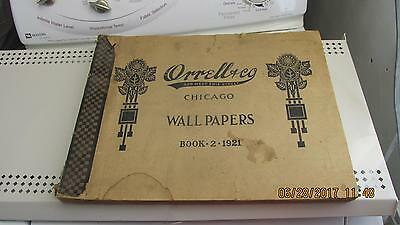 1921 Orrell & Co Chicago Wall Paper Book 2,Scrap Book 58 Samples 430 Post Cards