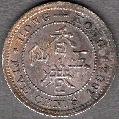 1892 Hong Kong 5 Cent Coin - *uncirculated Condition* Deep Toning