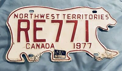 1977 Northwest Territories CANADA Polar Bear License Plate FREE SHIPPING!
