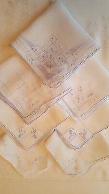 Vintage lot of 7 Beautiful Blue Madeira Embroidery & Drawn Thread Hankies