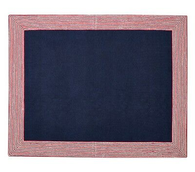 Pottery Barn Kids Marshall Rug Navy Red 100 wool 5 x 8 Brand New Retail $499.00