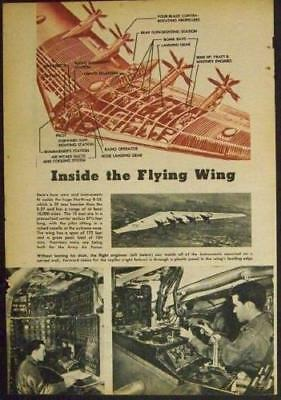B-35 Army Bomber Northrup Flying Wing 1947 original cut-a-way pictorial