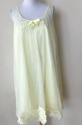 Vtg ShadowLine Yellow Floral Lace Baby Doll Nightgown Double Layer Sheer Large