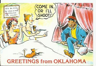 Greetings from Oklahoma Postcard *Come In...or I'll Shoot*