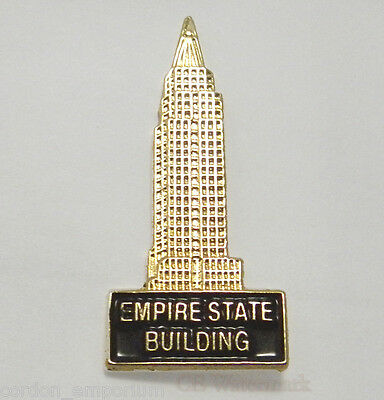 New York Empire State Building Gold Colored Lapel Pin Badge 7/8 Inch