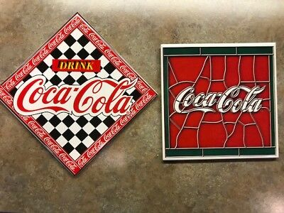 "COCA - COLA cork back trivets 6"" x 6"" lot of 2 stained glass look and checkered"