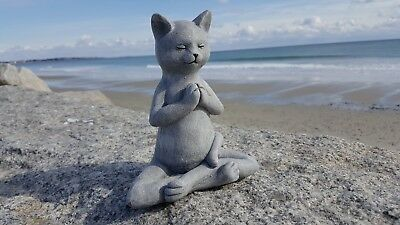 Meditating Cat Statue, Concrete Cats, Yoga Cat Figure