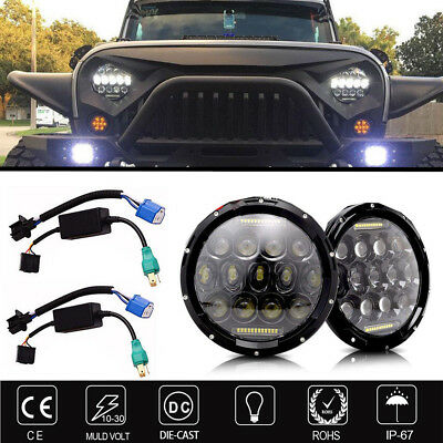 Projector Headlamps 7 inch LED Headlights Smoke For Kenworth T2000 1997-2011