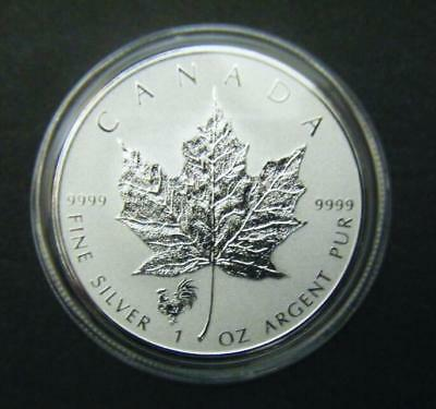 2017 Canada $5 1oz Chinese Lunar Rooster Privy Mark Silver Maple Leaf coin
