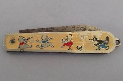 Vintage 1930s Disney Three 3 Little Pigs Pen Pocket Knife Big Bad Wolf