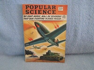 POPULAR SCIENCE Magazine January 1943; War-time issue! WWII Planes; With Insert