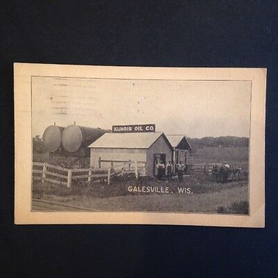 Illinois Oil Company Postcard Galesville Wisconsin