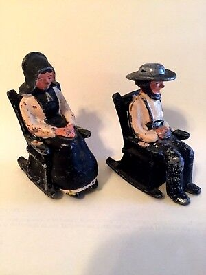 Antique Vintage Cast Iron Salt & Pepper Shakers Amish Pilgrim Couple Set Rare
