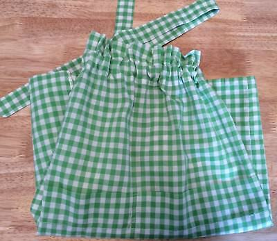 Vintage 1950's Green & White Gingham Checked Half Apron, Pre-Owned, Vg Condition