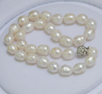 "Genuine 11-13MM Natural Rice White akoya cultured pearl necklace 18"" wholesale"