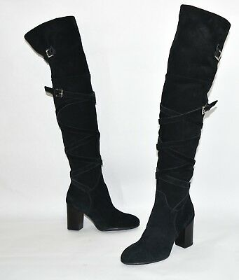 a67026aa83c NEW SAM EDELMAN Sable Black Suede Leather Belt Strap Over the Knee ...
