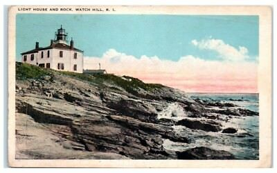 1925 Lighthouse and Rock, Watch Hill, RI Postcard