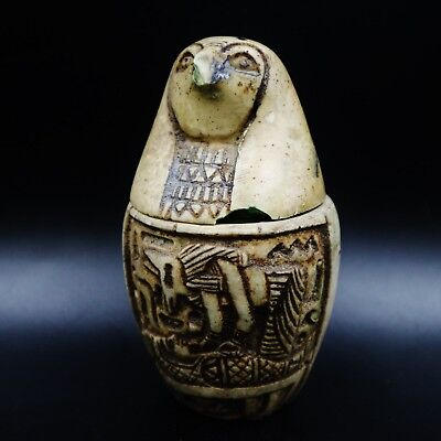 Fine Antique Egyptian falcon-headed Canopic Jar,Organs Storage Statue LARGE