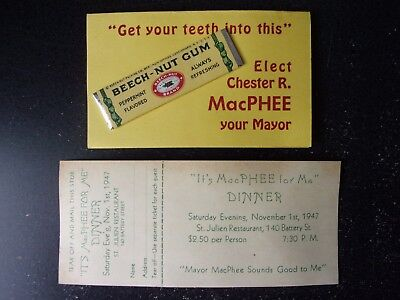 1947 San Francisco Candidate for Mayor - Chester MacPhee Promo & Dinner Invite