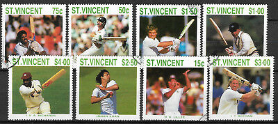 ST VINCENT 1988 CRICKETERS Lillee Botham Imran 8v USED