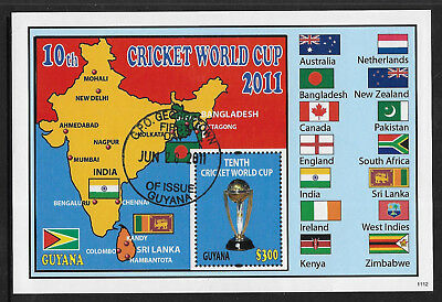 GUYANA 2011 ICC 10th CRICKET WORLD CUP FLAGS MAP Souvenir Sheet USED