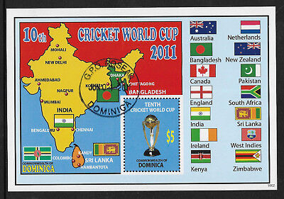 DOMINICA 2011 ICC 10th CRICKET WORLD CUP FLAGS Souvenir Sheet USED