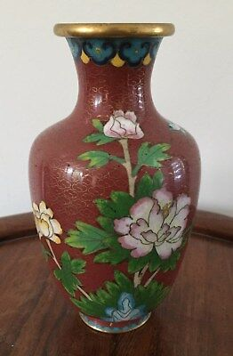 19th/20thc Chinese Cloisonne Vase Flowers Motifs  15.5cm tall