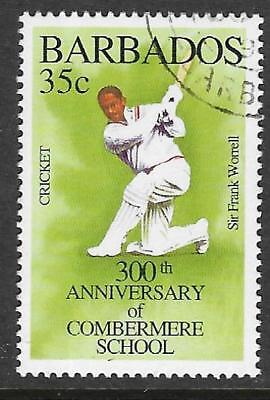 BARBADOS 1995 350th Anniv COMBERMERE SCHOOL SIR FRANK WORRELL CRICKET 1v USED