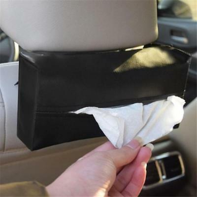 Auto Car Sun Visor Napkin Paper Tissue Box Holder PU Leather Accessory Deluxe JJ