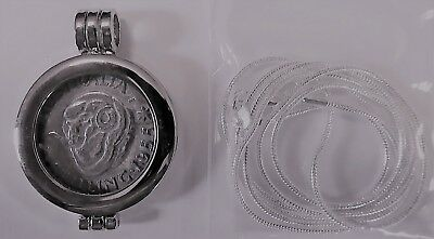 COIN PENDANT 1955 50% Silver SHILLING in a bezel and silver chain