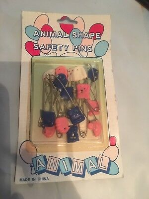 Safety pins animal multicolored for diaper or collector, free ship Vintage