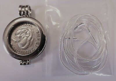 COIN PENDANT 1961 50% Silver SHILLING in a bezel and silver chain