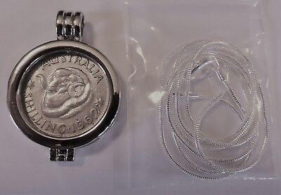 COIN PENDANT 1962 50% Silver SHILLING in a bezel and silver chain
