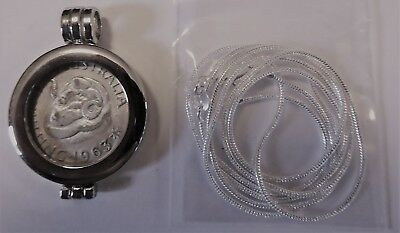 COIN PENDANT 1963 50%Silver SHILLING in Bezel with Silver Chain