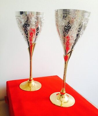 d4c1b1a02077 Silver   Gold Plated Brass Goblet Wine Set Champagne Glass Table Dining  Decor