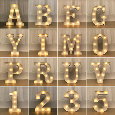 Led Letters Alphabet Sign Numbers Light Up Wood Decorative White Standing