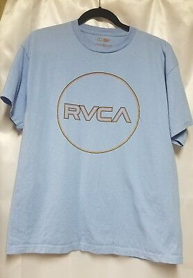 RVCA Artist Network Program Light Blue T-Shirt with Red, Green, & Yellow Adult L