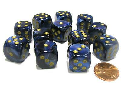 Scarab 16mm D6 Chessex Dice Block (12 Dice) - Royal Blue with Gold Pips