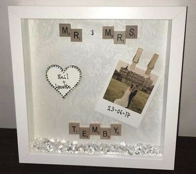 personalised scrabble frame Mr /& Mrs wedding gift with diamonds and sparkle