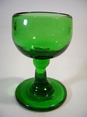 Antique Victorian Hand Blown Green Glass Eye Wash Cup Chemist Medical Medicinal