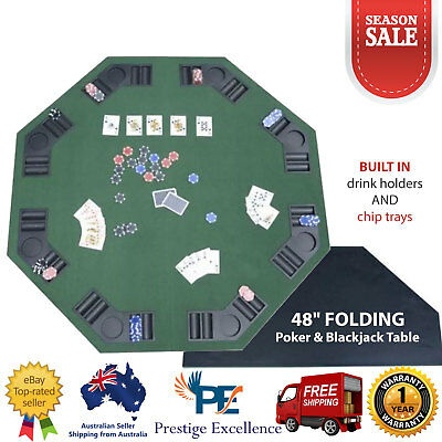 "48"" Folding Poker Blackjack Table Top 8 Player Octagon with Cup Holders Green AU"