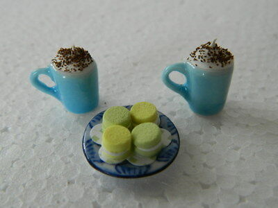 (F1-30) Dolls House Hand Made 2 X Hot Chocolate With Macaroons