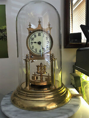 Early 1900s Shatz 400 Day, Torsion, Anniversary Clock, Under Glass Dome.