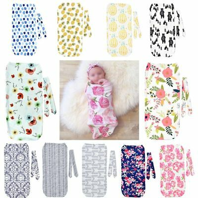 2Pcs/Set Newborn Swaddle Blanket Baby Cocoon Sleeping Bag Head Wrap Headband