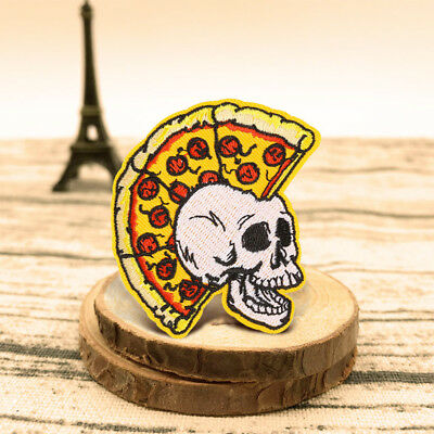 Pizza Skull Skeleton Punk Embroidered Sew On Iron On Badge Patch Fabric Craft