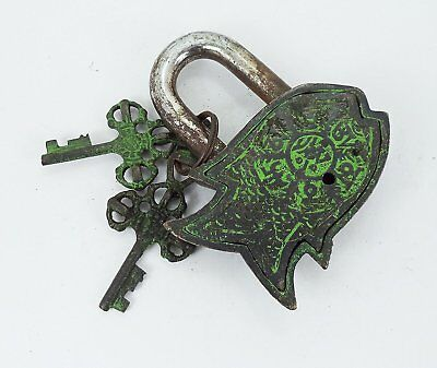 "Garden Lock Functional Brass Beautiful Fish Padlock 3.5"" with Two Keys"