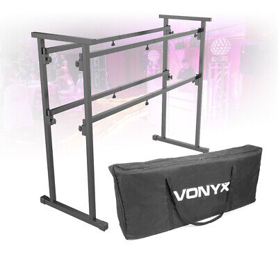 Mobile DJ Booth Deck Stand Turntable Mixer Equipment Desk Table with Carry Bag