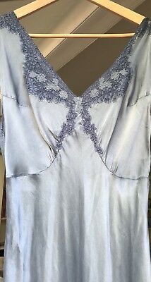 Vintage French 1930s Silk Bias Cut Dress Gown, Small