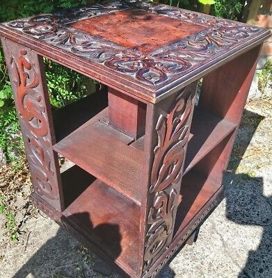 Antique Arts And Crafts? Carved Revolving Bookcase